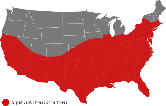 Significant threat of termites from the Southwest to the Northeast